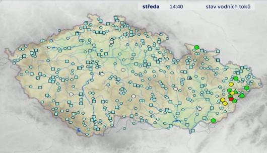 Stav vodních toků 22. května Zdroj: ČT24